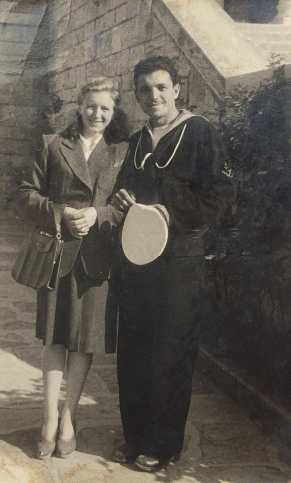 Anna and Giovanni Raicovich, in Pola, Italy, early 1940s. Giovanni is posing in his navy uniform, where he was a cook.