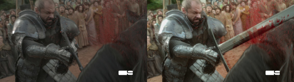 Pre-cgi shot, post-cgi shot, from Game of Thrones Season 1.